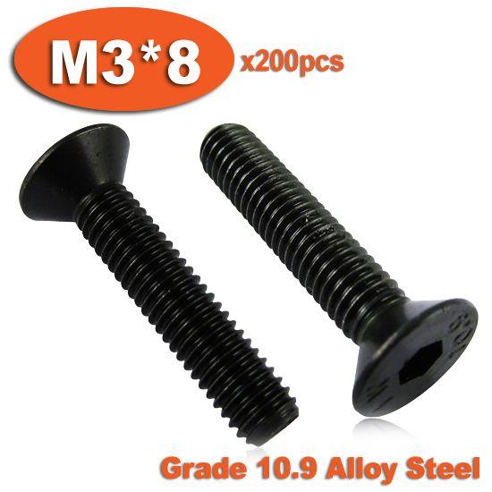 200pcs DIN7991 M3 x 8 Grade 10.9 Alloy Steel Screw Hexagon Hex Socket Countersunk Head Cap Screws