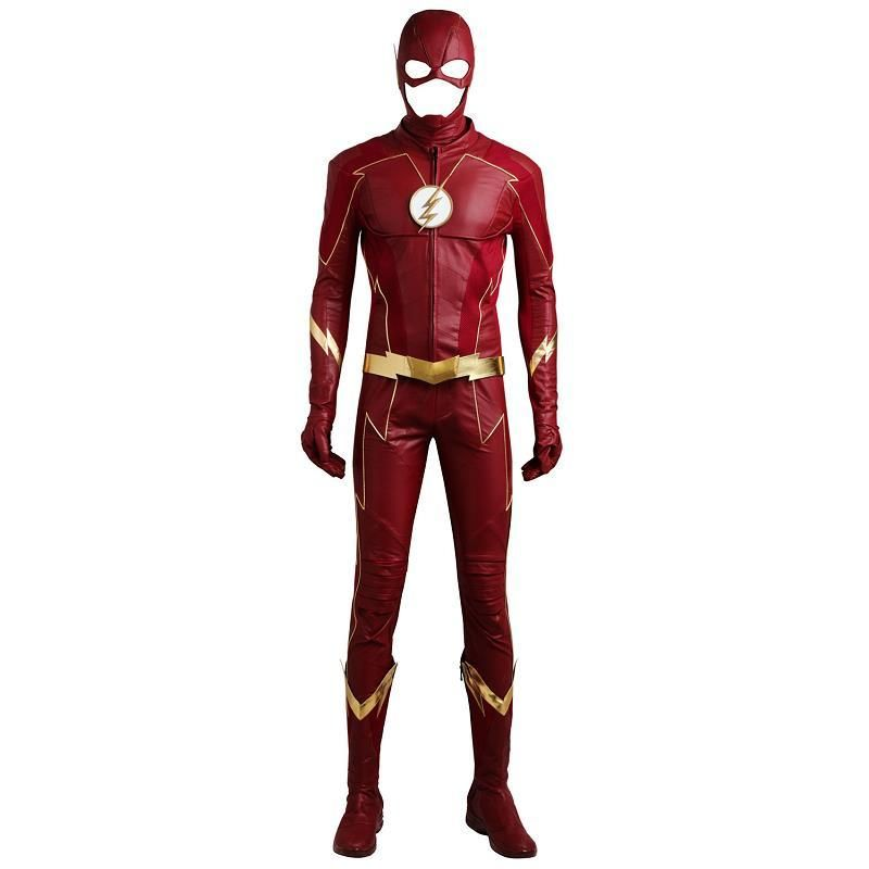 The Flash Season 4 Barry Allen Superman Cosplay Costumes Leather Jacket Pants Mask New Year Outfits Boots Custom For Halloween