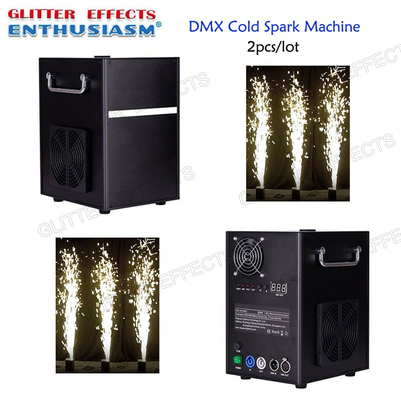 2pcs/lot Professional dmx stage cold spark fountain machine titanium powder fire machine for wedding