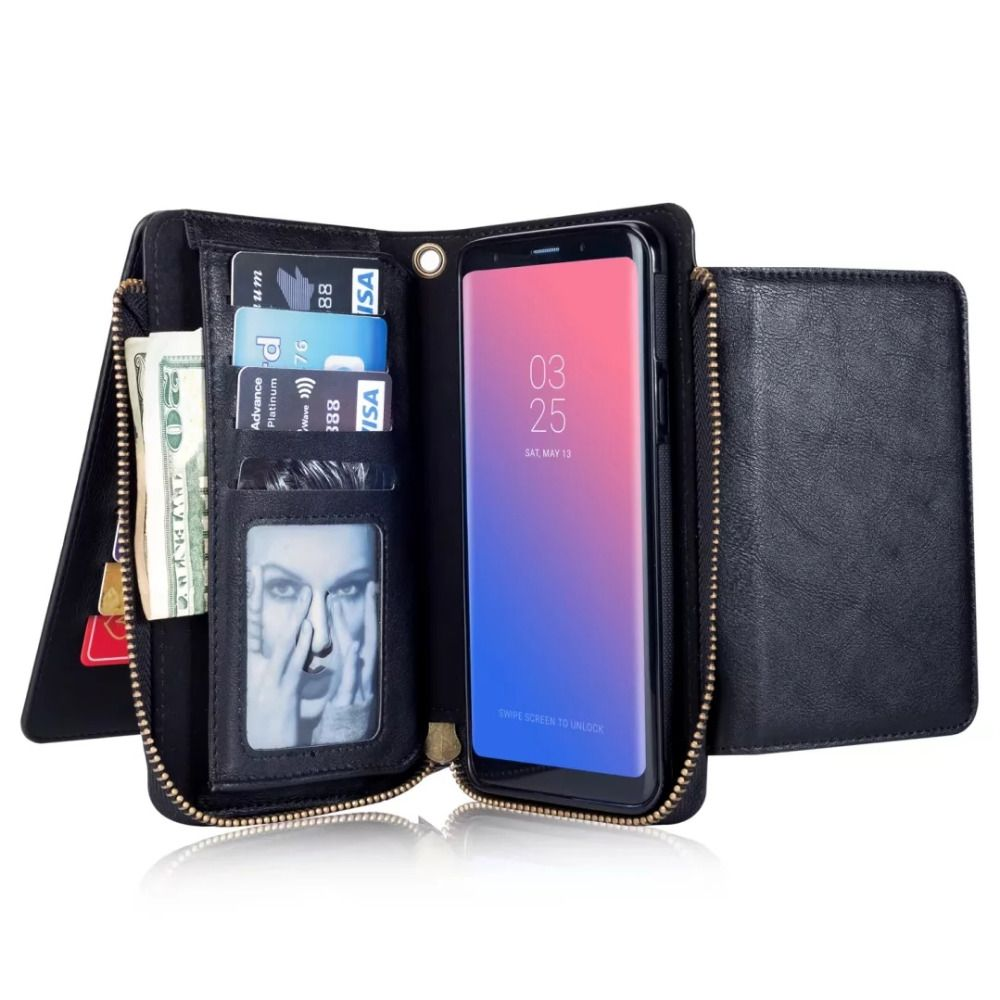 INIZEAL Wallet Purse Flip Leather Case for Samsung Galaxy S8Plus S7 S7edge S6 Note8 for iPhone 8 plus 8plus 7 7plus 6 6s 6plus