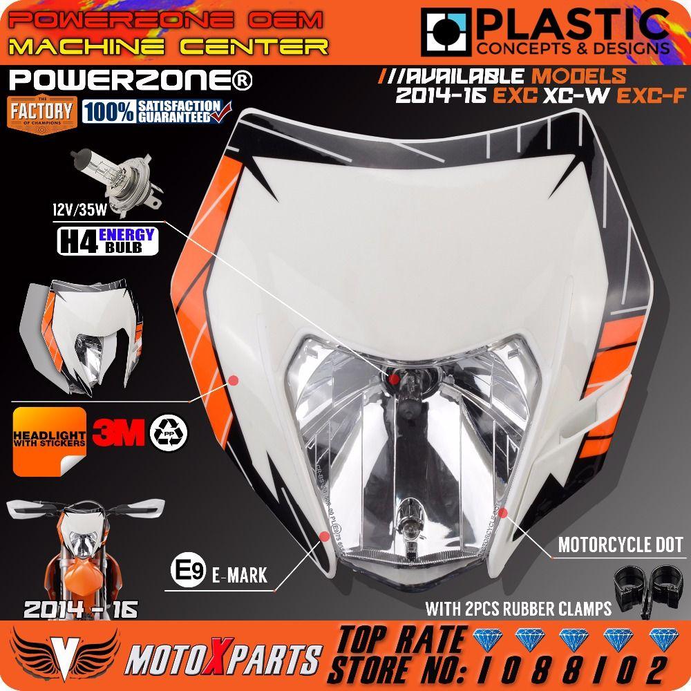 Powerzone Motorcycle Dirt Bike Motocross Supermoto Universal Headlight Headlamp For KTM EXC XCW EXCF SX SXF 125 250 300 450 500