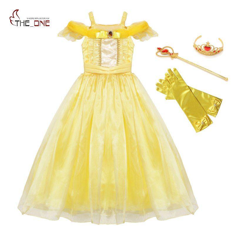MUABABY Filles Belle Robe up D'été Bretelles Beaut et La Bête Princesse Costume Enfants Halloween Cosplay Vêtements Partie de Fantaisie