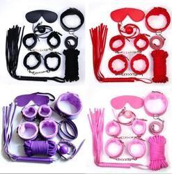 Для связывания раба Фетиш S & M БДСМ бондаж для взрослых комплект сексуальный бандаж, растяжки, для взрослых игрушка манжеты халат полумаска 7...