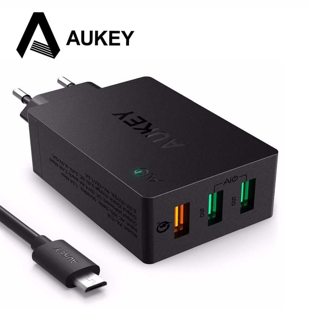 AUKEY USB Chargeur Charge Rapide 3.0 3 Port USB Mobile Téléphone chargeur Intelligent Mur De Charge pour iPhone LG G5 Samsung Xiaomi HTC et plus