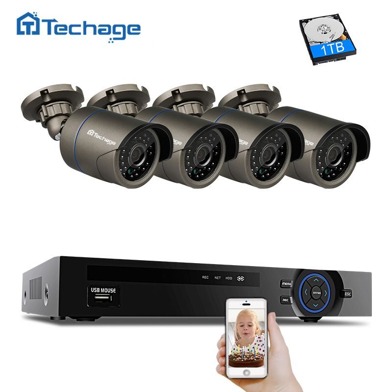 Techage POE Security Camera System 4CH 1080P NVR Kit 4pcs Outdoor 2MP IP Camera IP66 Waterproof Night Vision Surveillance System