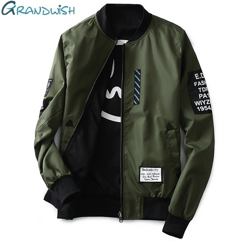 Grandwish Bomber Jacket Men Pilot with Patches Green Both <font><b>Side</b></font> Wear Thin Pilot Bomber Jacket Men Wind Breaker Jacket Men,DA113