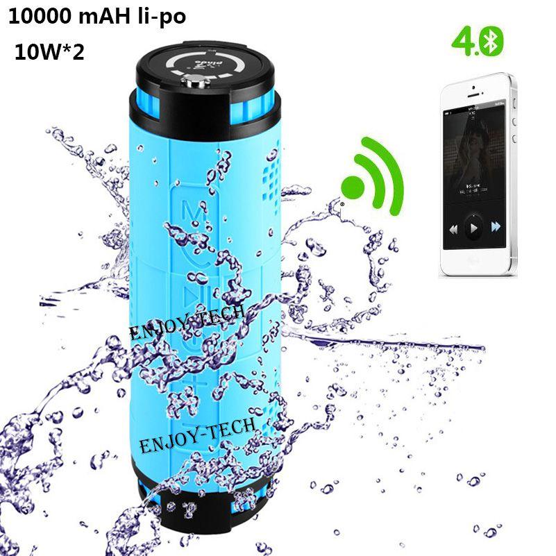 10000 mAH 20 Watt Outdoor Radsport Drahtlose Bluetooth Lautsprecher für Fahrrad 10 Watt * 2 Tragbare Wasserdichte Lautsprecher Subwoofer für Android iphone