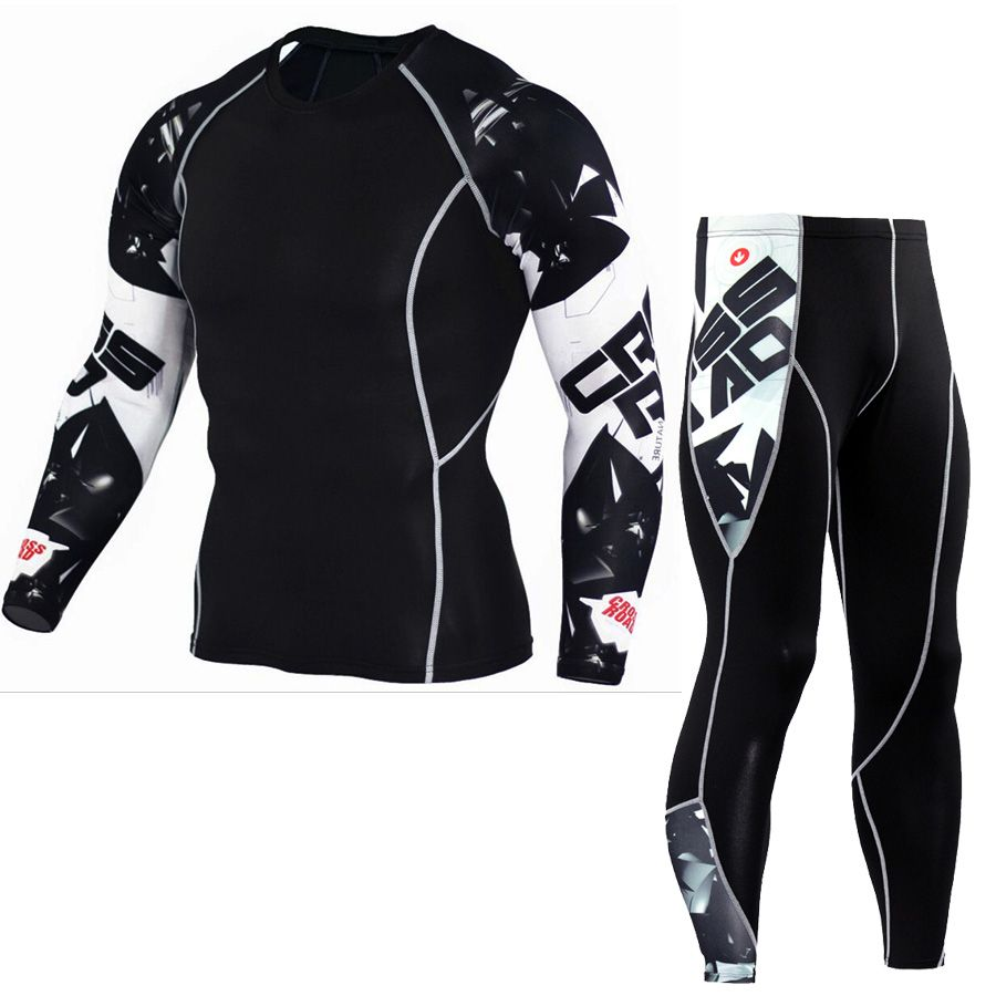 Mens Compression Sets T Shirts Wolf Print Lycra Crossfit T-shirt Joggers Base Layer Tight Tops Leggings Brand Clothing