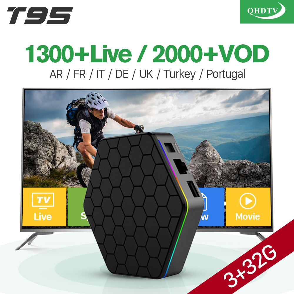 Popular VOD Arabic French Iptv Top Box 3GB 32GB T95Z Plus Android 6.0 Smart TV Box S912 QHDTV Subscription IPTV Italia Spanish