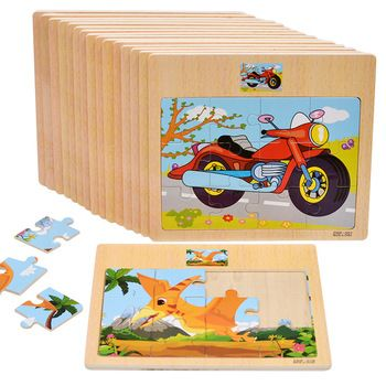 New Arrival Baby Toys 12Pcs Cartoon Animal/Vehicle Jigsaw Puzzle Have Reference Photo Wooden Toys Kids Educational Learning Gift