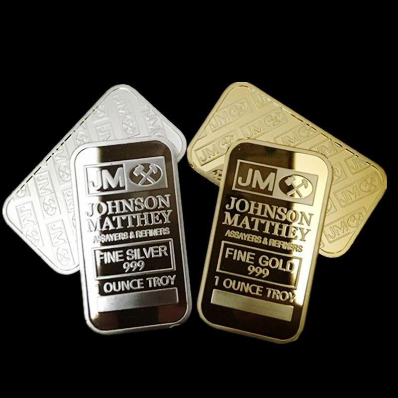 2 pcs La marque new American Johnson Matthey JM banque argent 24 k or plaqué bullion bar souvenir coin bar