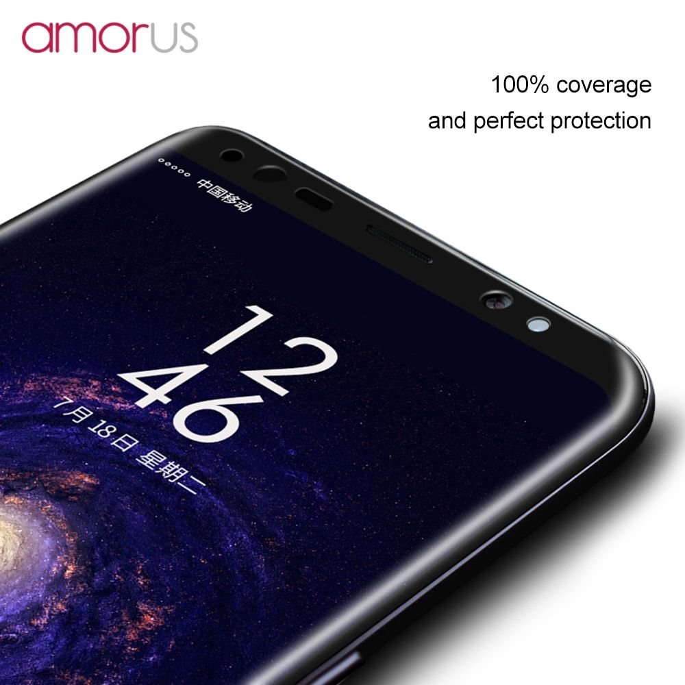 AMORUS S8 Plus Screen Protector for Samsung Galaxy S8 S8Plus G950 G955 Phone Glass Full Size Covered Tempered Glass 3D Arc Edge