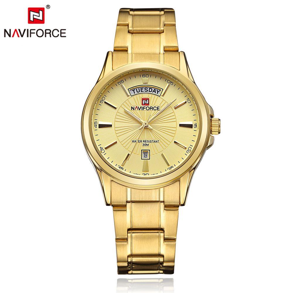 NAVIFORCE Luxury Brand Gold Steel Men's Quartz Wristwatch Fashion Casual Dress Business Sport Watch Men Clock Relogio <font><b>Masculino</b></font>