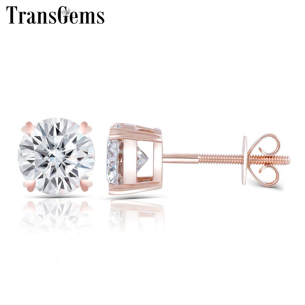 Transgems Solide 14 K 585 Rose Gold 2CTW 6,5 MM F Farbe Moissanite Stud Ohrringe Schraube Zurück Klassische Rosa Gold ohrringe für Frauen