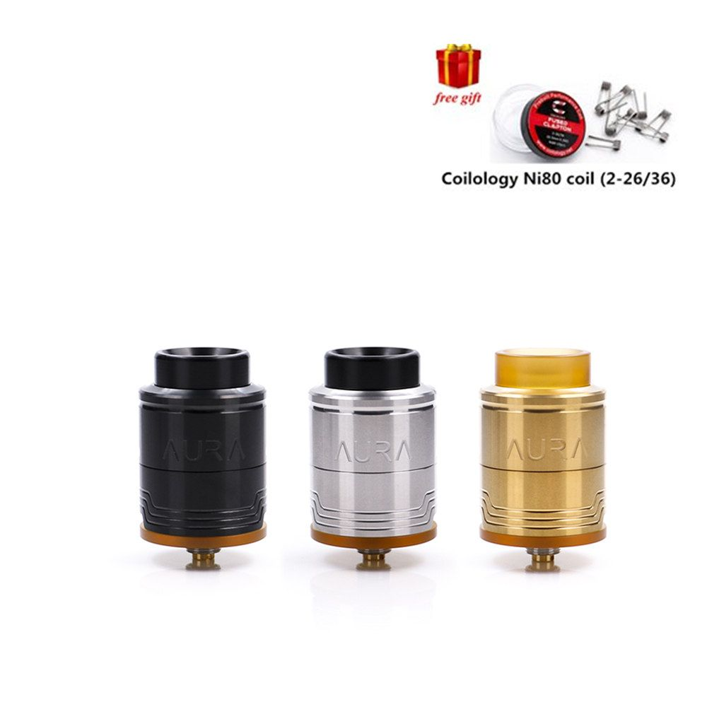 Free gift Digiflavor Aura RDA Tank with Step Clamp Build Deck with BF and regular connector Atomizer Vape for Ecigarette box mod