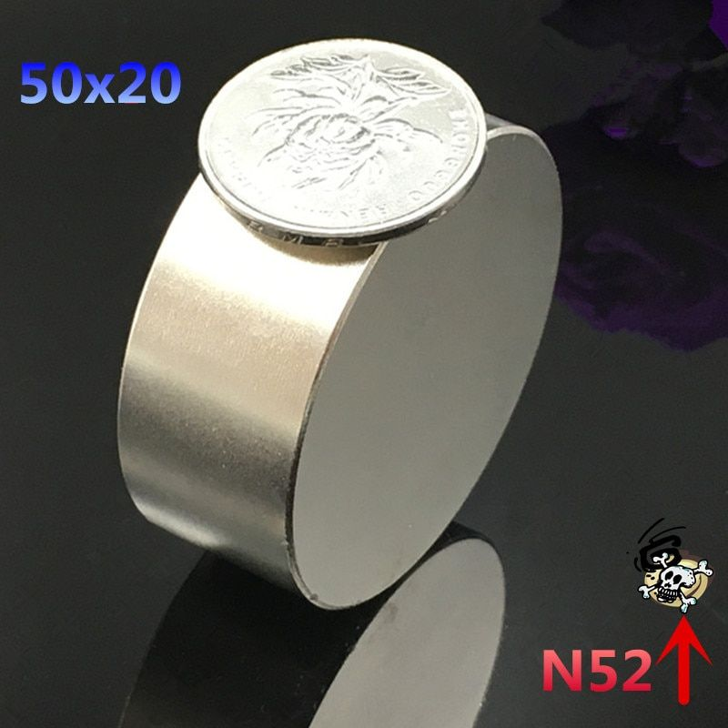 1pcs N52  Neodymium magnet  50x20 mm gallium metal super strong round magnet 50*20  Neodimio magnets for water meters speaker