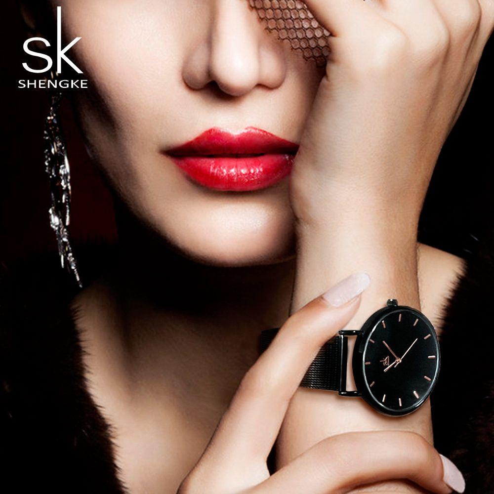 Shengke mode femmes noires montres 2017 haute qualité Ultra mince Montre à Quartz Femme robe élégante dames Montre Montre Femme SK