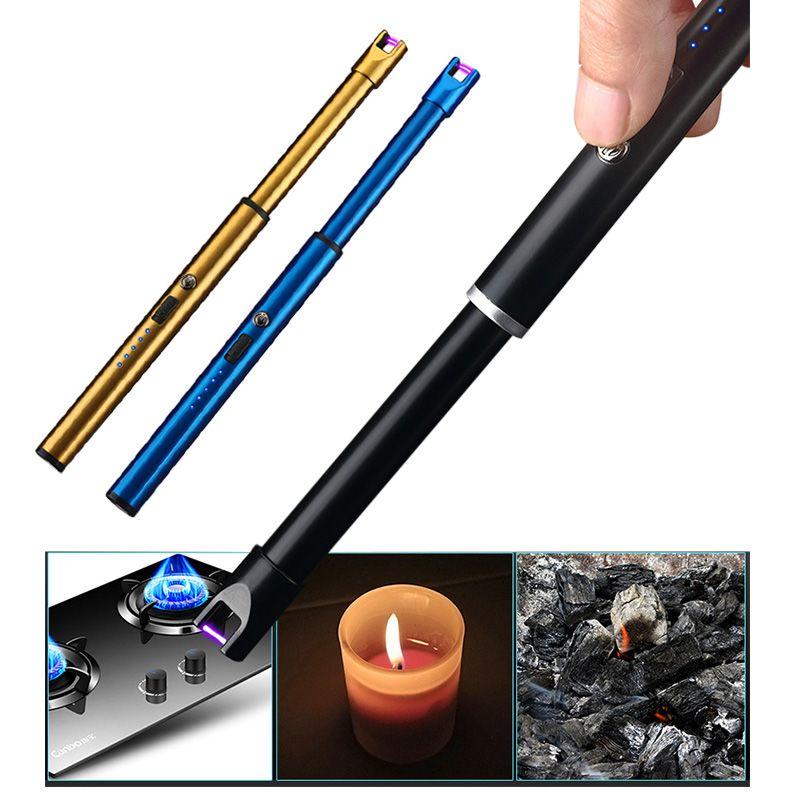 2019 NEUE USB Aufladbare Arc Kerze Leichter mit Doppel Sicherheit Lock Lade Anzeige für Camp Grillabende Herd