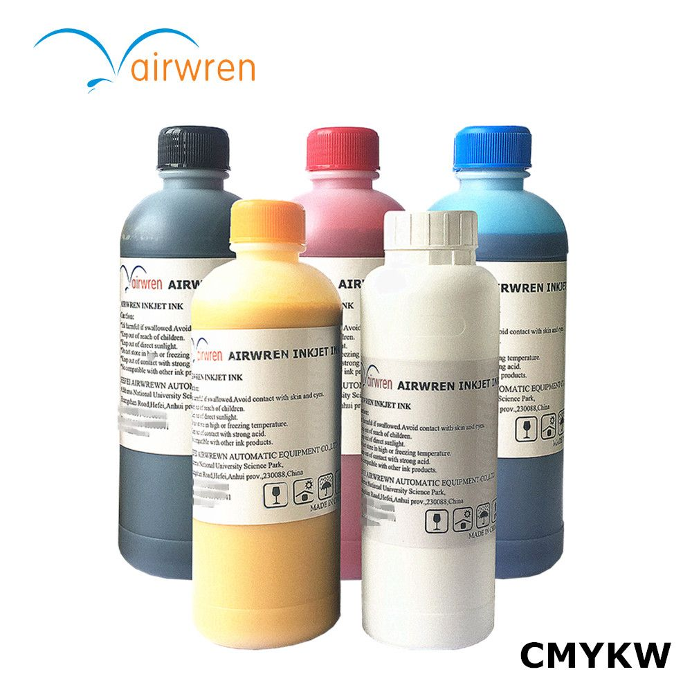 Textile ink for DTG t shirt printer/CMYKW 500ml to 2500ml pre-treatment liquid for free