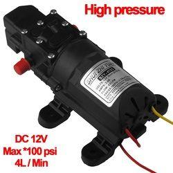 12V High Pressure Auto Diaphragm Water Pump 4L/min 100 PSI for Water Purifier Pressurizer Caravan HHO RV Spraying Marine Boat