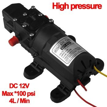 12V High Pressure Auto Diaphragm Water Pump 4L/min 100 PSI for Water Purifier Pressurizer Caravan HHO RV Spraying Marine Boat