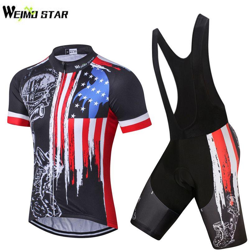 USA Skull Bike Jersey bib shorts set Men Cycling Clothing bicycle Top Suit Ropa Ciclismo maillot blouse MTB Shirts Sports Racing