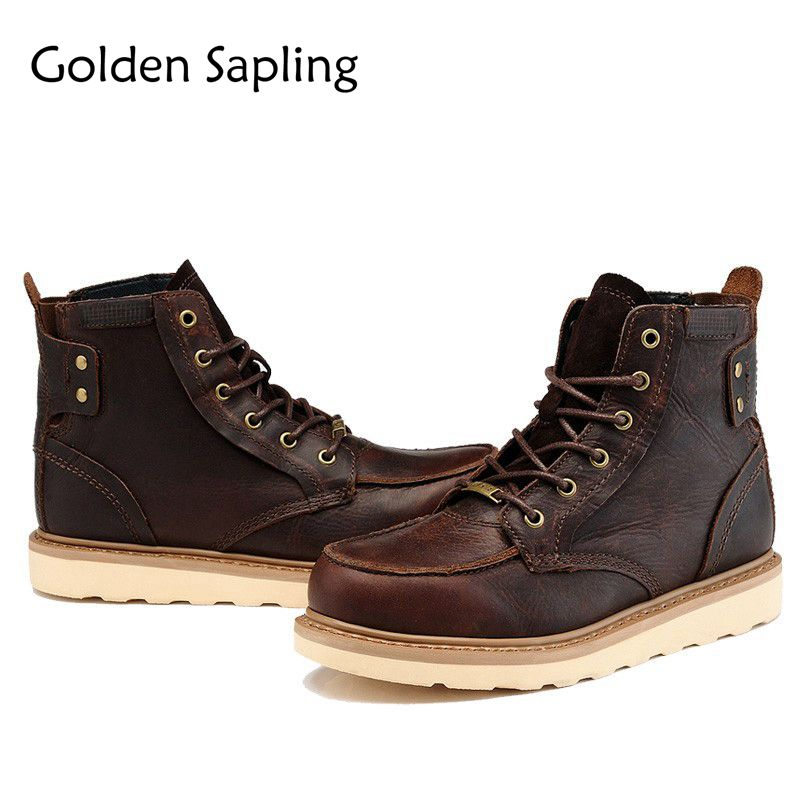 Golden Sapling Man Sneakers Men's Tactical Boots Breathable Genuine Leather Men Tracking Shoes Outdoor Mens Sport Trekking Boots