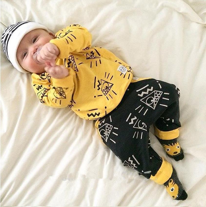 Nouveau Arrivent enfants vêtements Fit printemps automne marque bébé garçon vêtements jaune couleurs 2 pcs survêtement vêtements