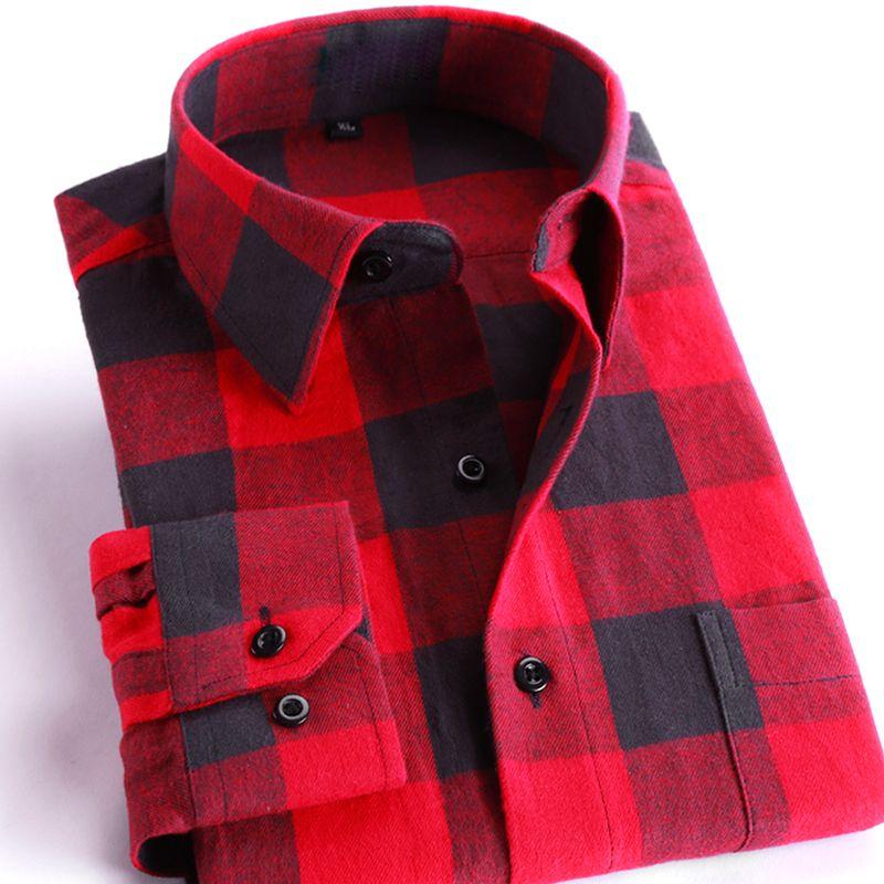 Для мужчин из 100% хлопка Повседневное рубашки в клетку карман с длинным рукавом Slim Fit удобные щеткой фланель рубашка для отдыха стилей футбол...
