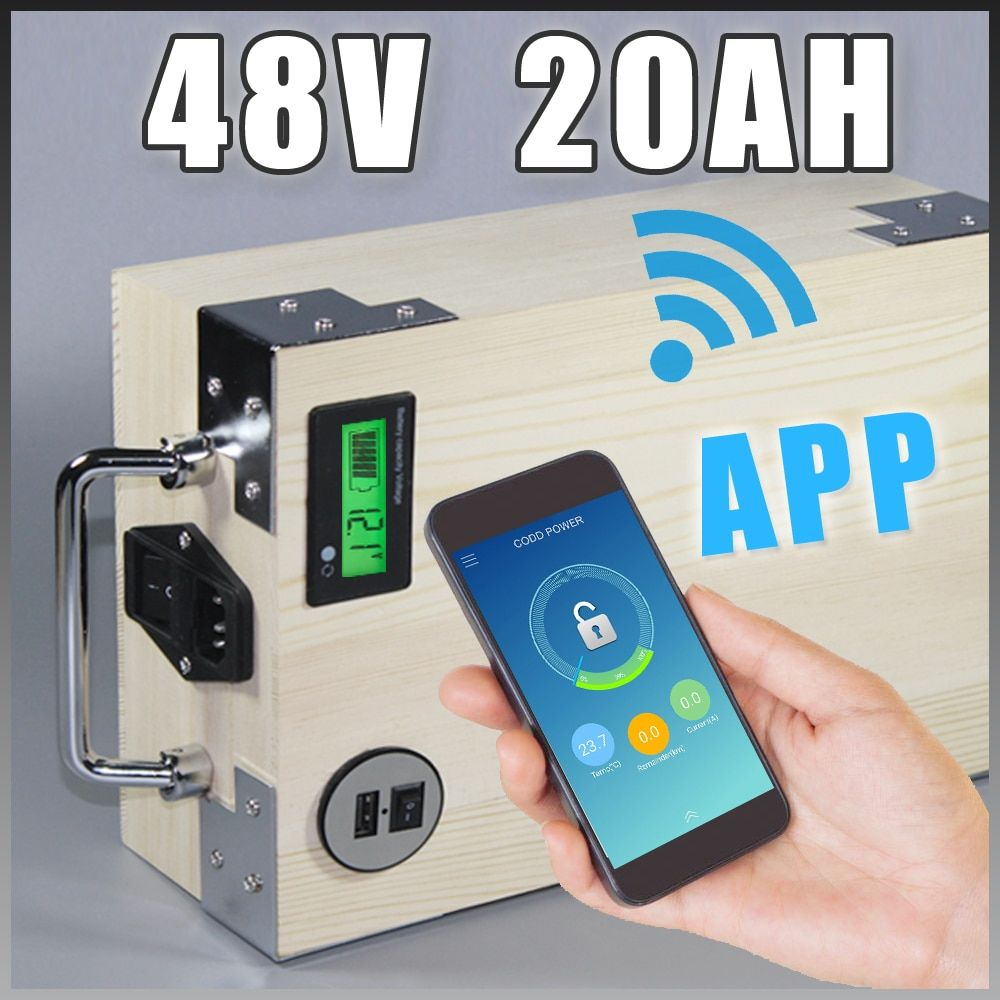 app 48V 20Ah Electric Bicycle LiFePO4 Battery + BMS ,Charger Bluetooth GPS control 5V USB Port Pack scooter electric bike