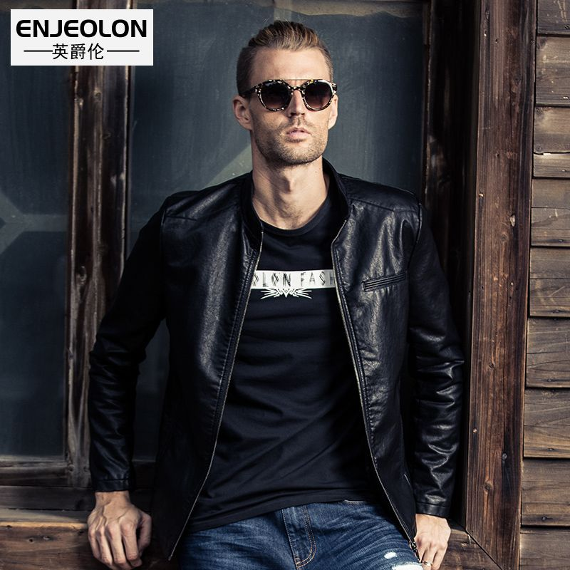 Enjeolon brand PU Motorcycle Leather PU Jackets Men, solid black Clothing Stand collar Male Casual Coat free ship P241