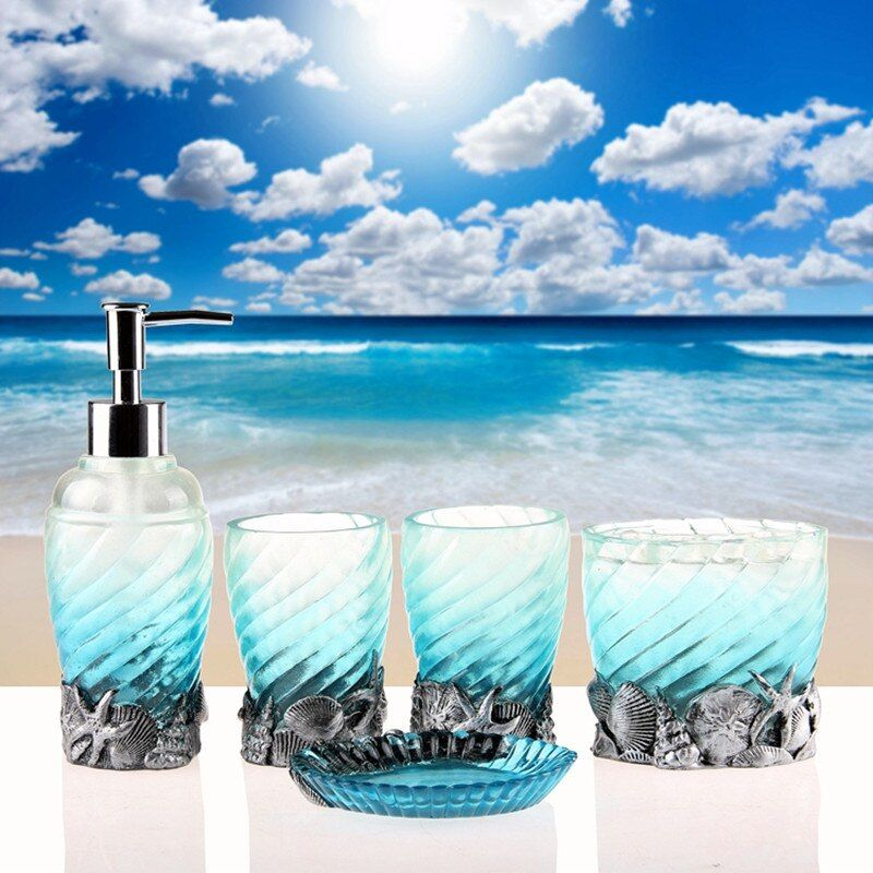 New Design Sea Shell Resin Bathroom Set Lotion Dispenser Toothbrush Holder Five Pieces Bathroom Accessories With Noctilucent