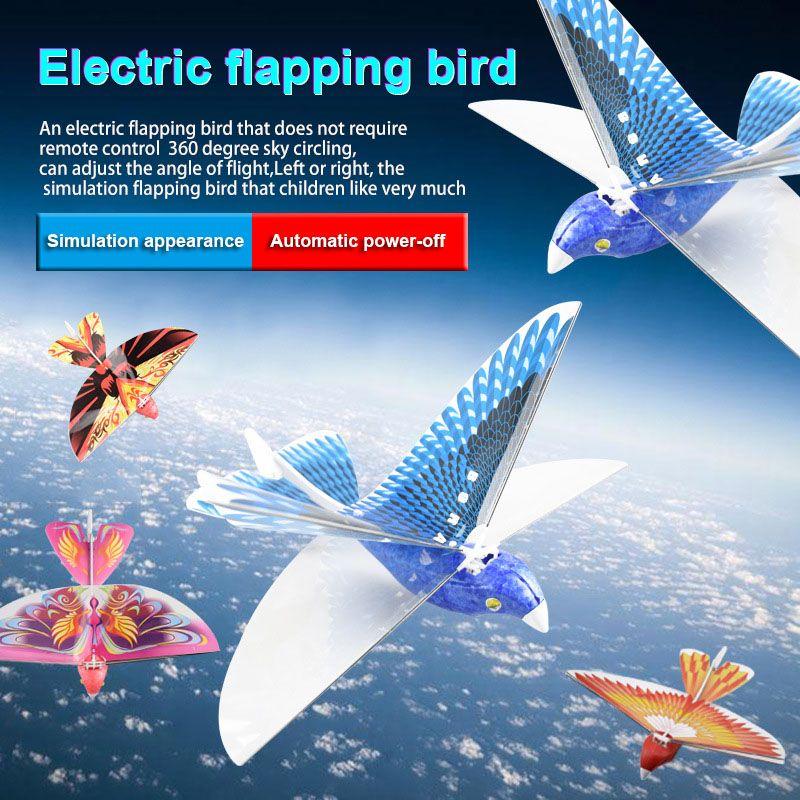 Electronic Toy Bird Bionic Flapping Wing Power Flying Bird RC Flying Bird Plane Flight Model 2.4GHz Drone Kids Gifts FJ88