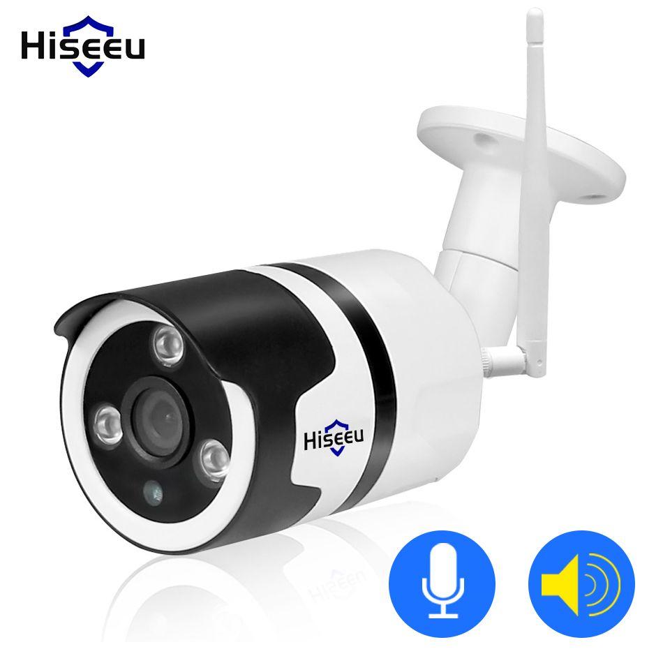 Caméra d'extérieur IP wifi Hiseeu 1080P 720P étanche 2.0MP Caméra de sécurité sans fil en métal deux voies audio à carte mémoire TF P2P