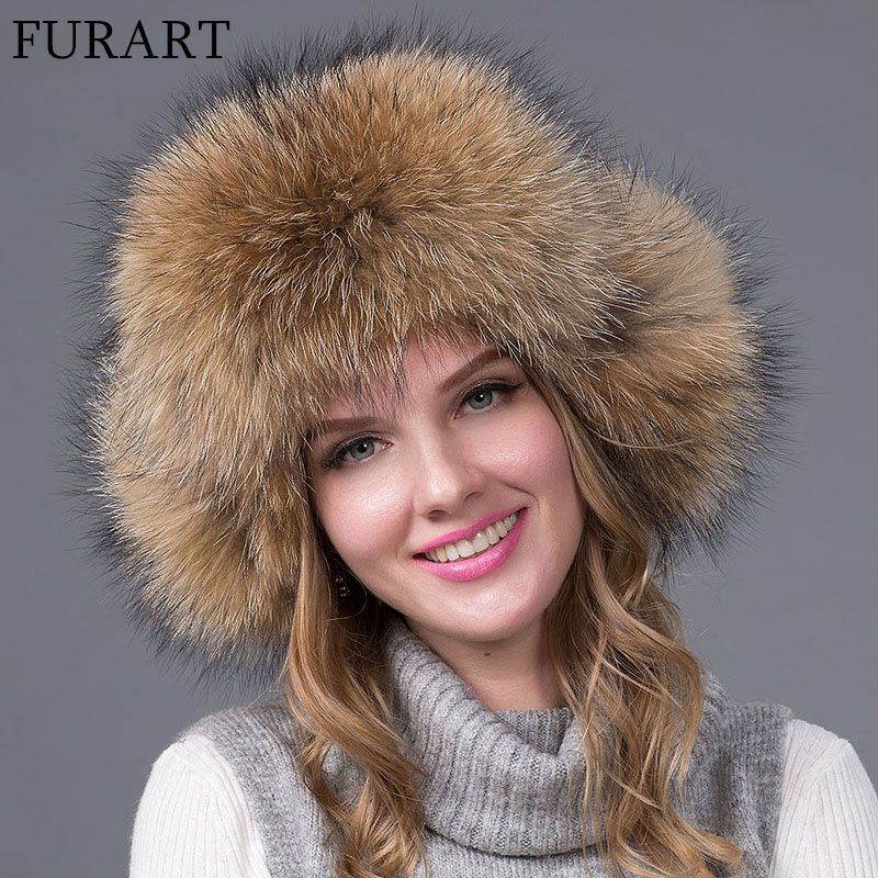 FURART fashion warm winter female fox fur bomber hat thickening ski cap fur factory leather protector ear cup HJL-04