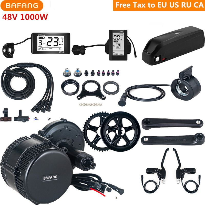 48 v 1000 watt Bafang 8fun BBSHD BBS03 Mitte Antrieb Motor C961 C965 Elektrische Fahrrad Conversion Kits Mit 48 v 17AH Lithium Ebike Batterie