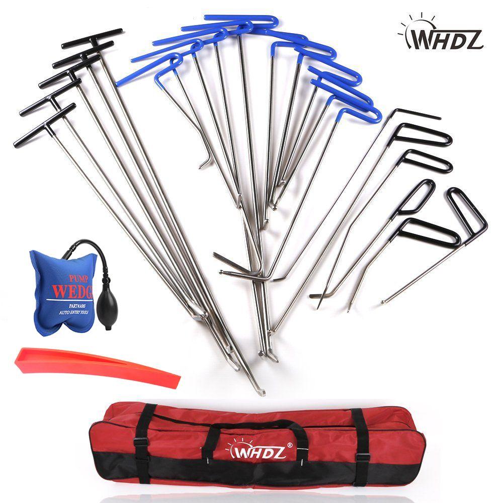 WHDZ Dent Repair pump wedge Tools Red Repair wedge Dent Hail Removal Repair Tools - PDR Hook Tools Push Rod PDR Repair Tools set