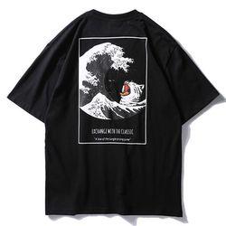 Aolamegs T Shirt Pria Jepang Retro Pria Tee Shirts O-Leher T Shirt Katun Sederhana Fashion High Street Pasangan Tees streetwear