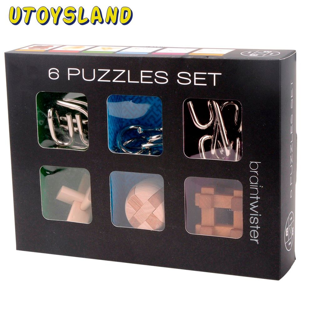 UTOYSLAND 6Pcs IQ Brain Teaser Set Metal Puzzle + Wooden Kong Ming Lock for Children Adults MT1142