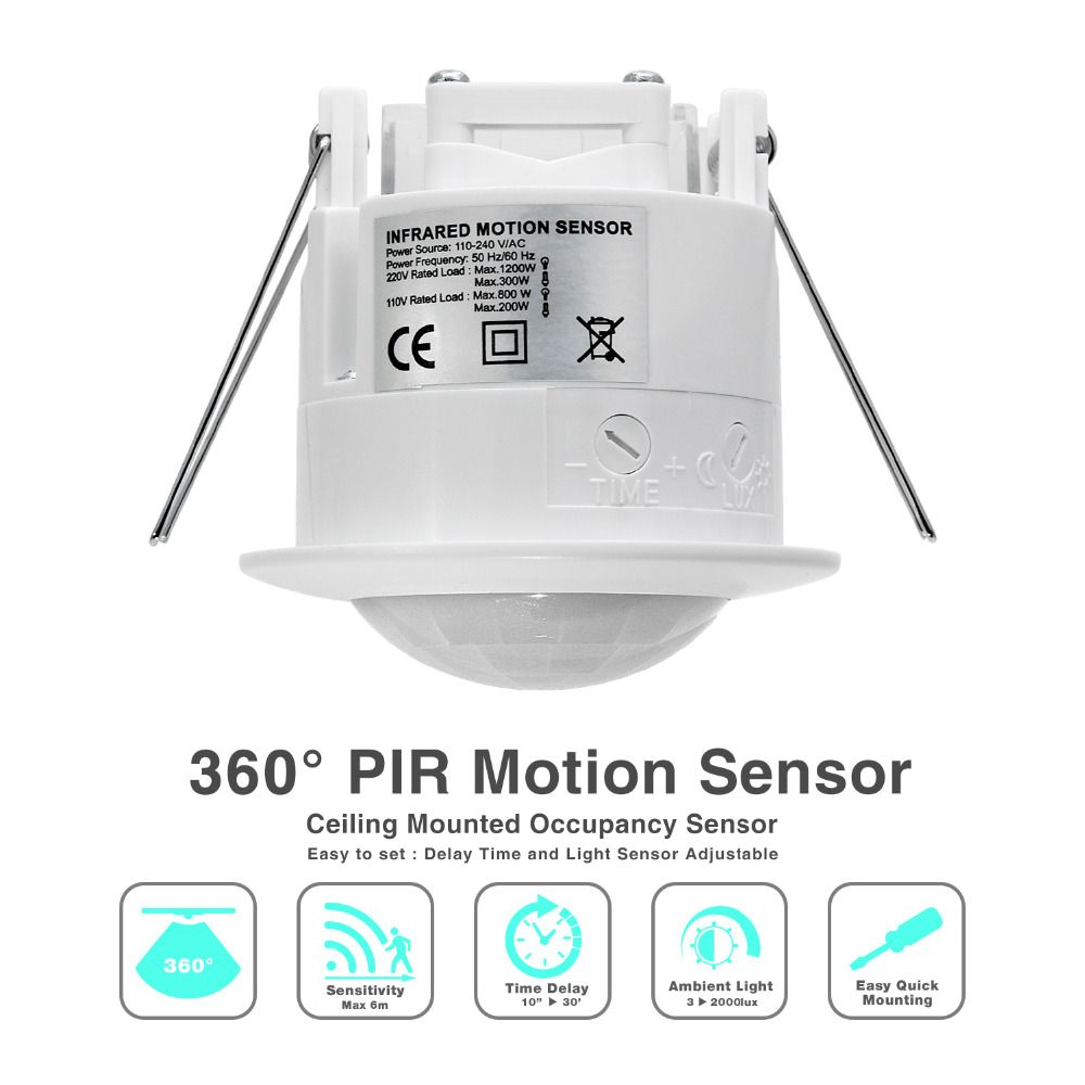 Haute qualité 360 degrés plafond 110 V/AC 220 V/AC inlay capteur interrupteur PIR infrarouge détecteur de mouvement lumière lampe commutateur (1 pc ET041)