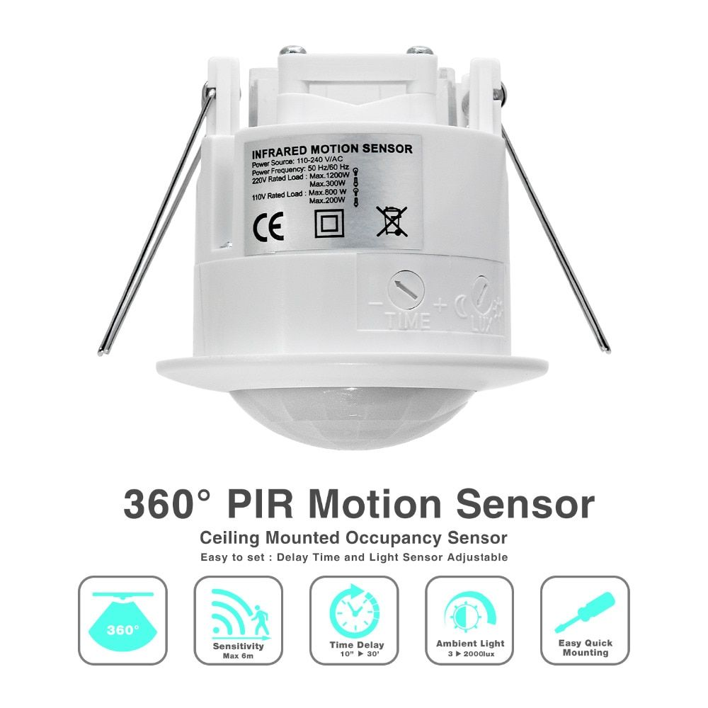 High quality 360 degree ceiling 110V/AC 220V/AC inlay sensor switch PIR infrared motion sensor light lamp switch ( 1pc ET041)
