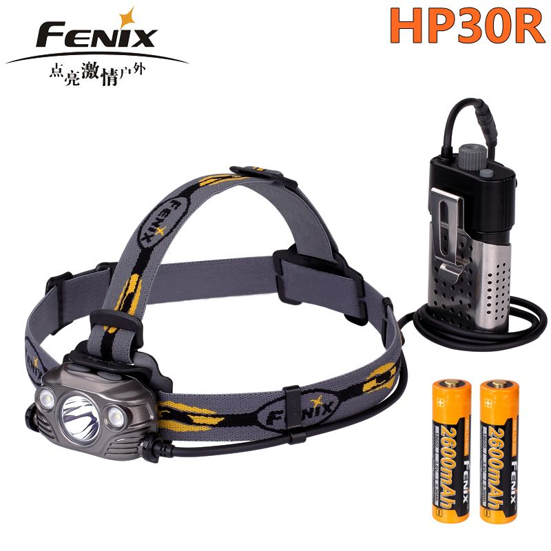 2018 New Fenix HP30R Cree XM-L2 and XP-G2 R5 LED 1750 lumens Headlamp with two Fenix ARB-L18-2600 batteries