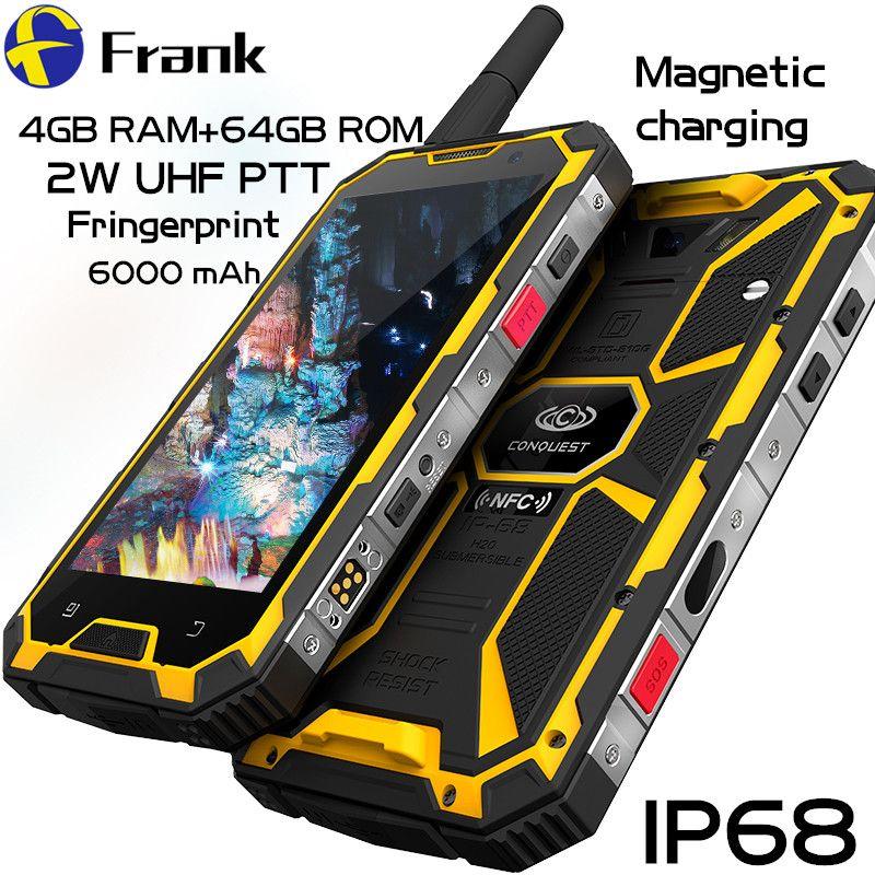 Original Conquest S8 Phone Waterproof Walkie Talkie 4GB 64GB Android 6.0 IP68 UHF DMR Radio 16MP 6000mAh NFC Rugged Smartphone