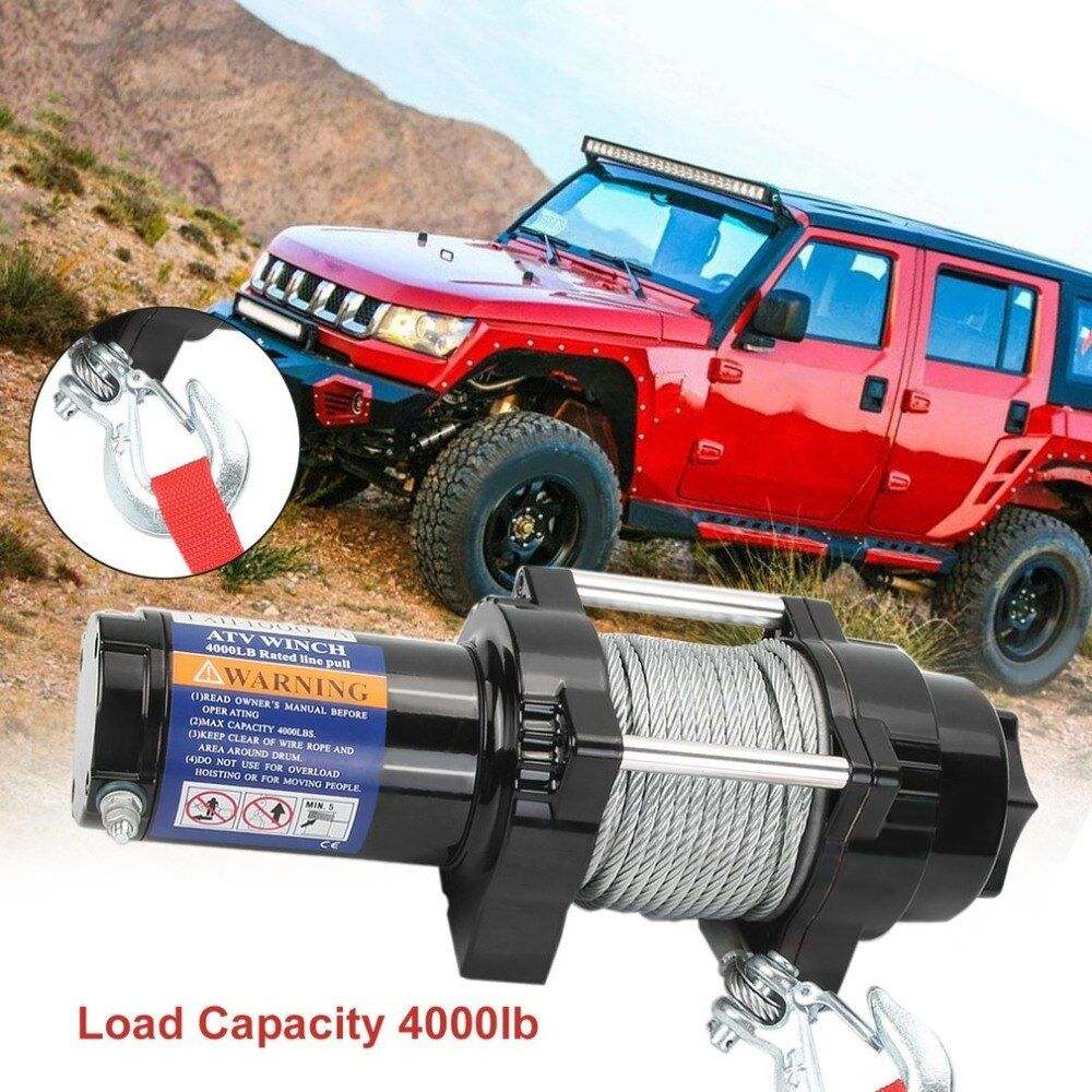 Durable Electric Winch Load Capacity Up To 4000lb With Remote Control Cars Auto Off-road For Atv Engines Lift Winch 2018 NEW