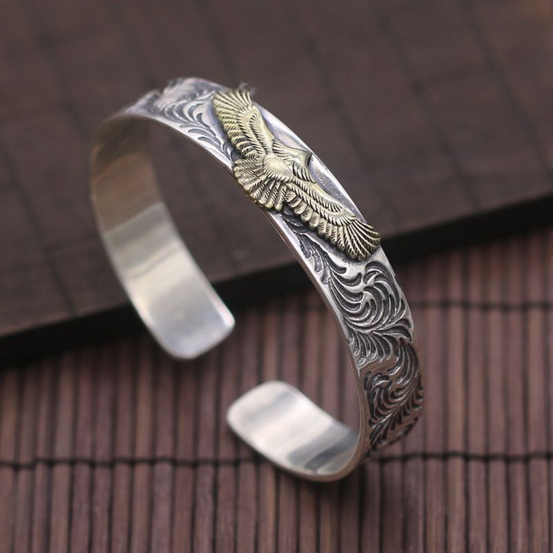Indian Style Golden Eagle Mens 925 Silver Bangle Bracelet Handmade Pure Sterling Silver 925 Fashion Cool Men Jewelry Thai Silver