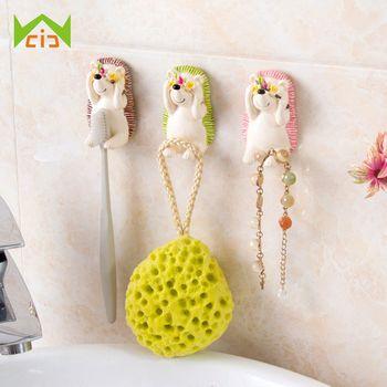 WCIC Shy Hedgehog Resin Toothbrush Suction Holder Wall Mount Plug Socket Organizer Key Sundry Hook Kitchen Bathroom Wall Hanger