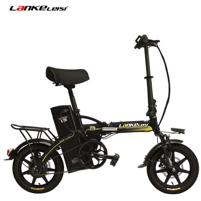 48V 23.4Ah Powerful Electric Bike, 5 Grade Assist, 14 Inches Folding EBike, Integrated Wheel, Both Disc Brake, Suspension Fork