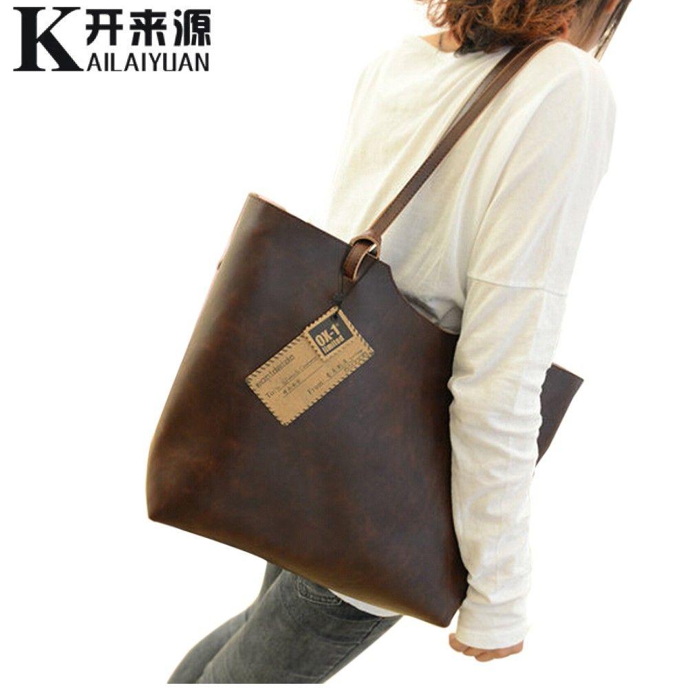 KLY 100% Genuine leather Women handbags 2018 New design women handbags vintage women shoulder bags large tote brown women bags