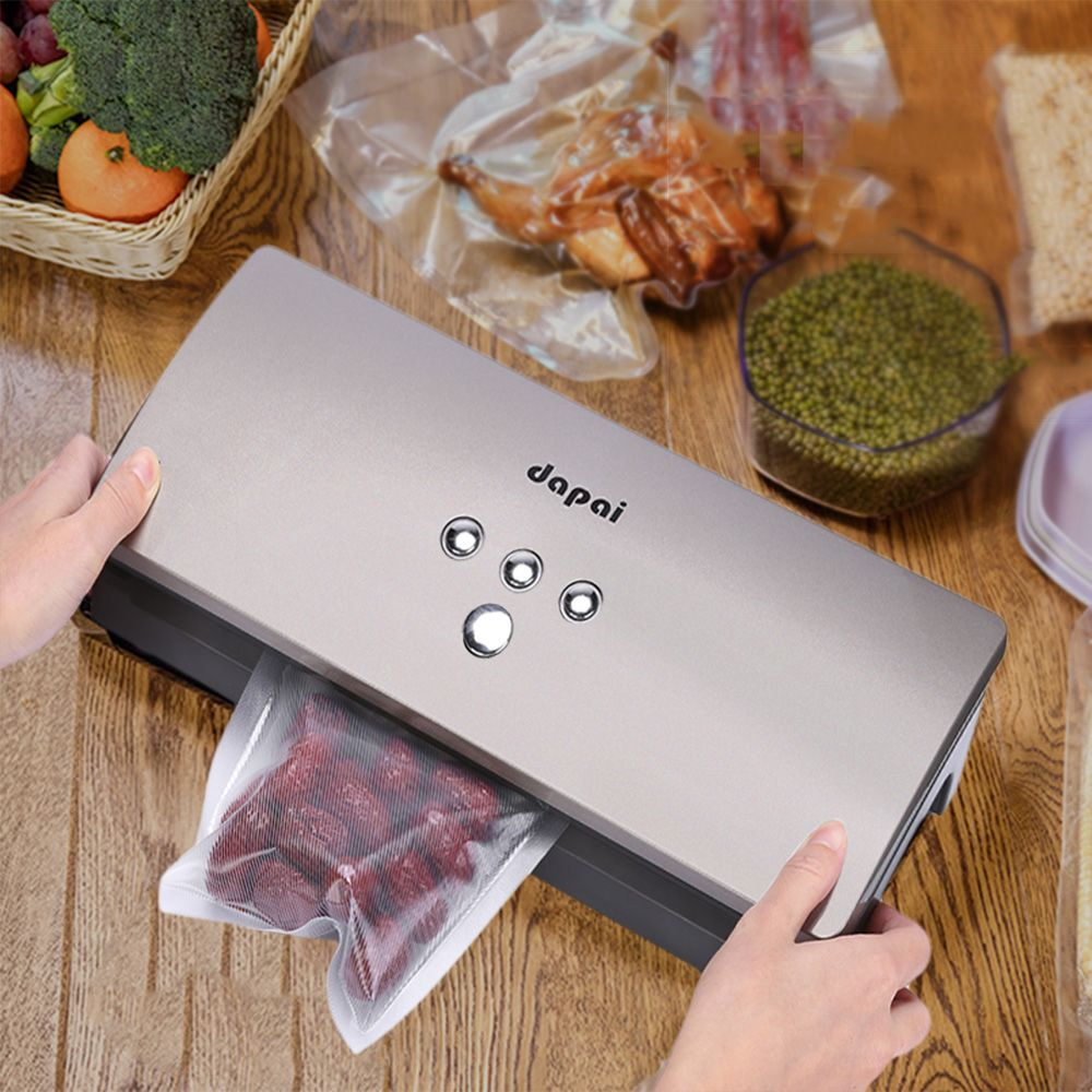 Dapai DS - 100 Vacuum Sealer Machine Fresh Storage System for Dry Moist Foods Preservation with Saver Roll 10pcs Bags