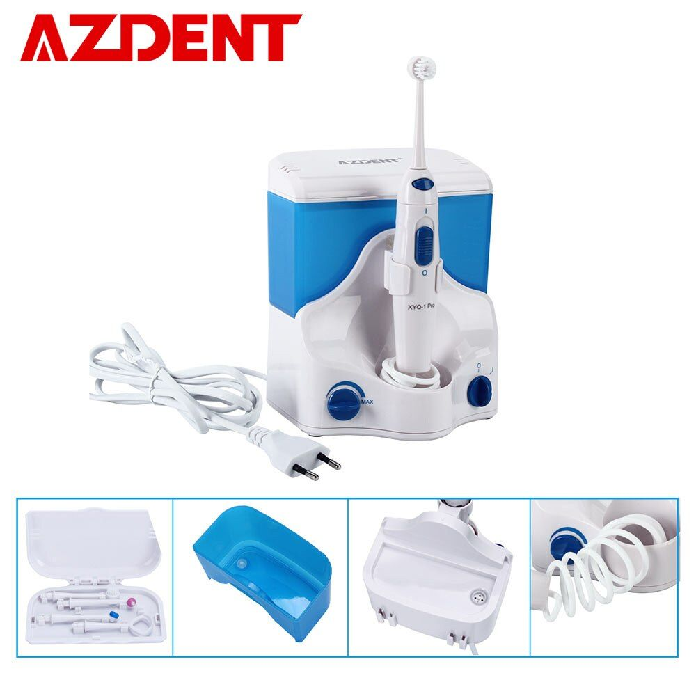 AZDENT Electric Oral Irrigator Water Dental Flosser Jet Floss Tooth Pick Oral Irrigation 4pcs Tips 500ml Water Tooth Flossing